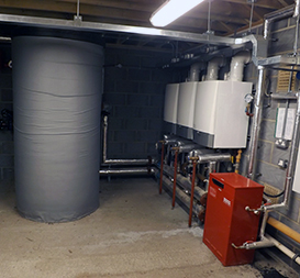 Commercial heating boiler room